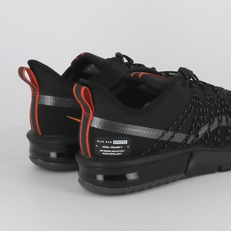Nike air max sequent shield 4 noir orange homme basket