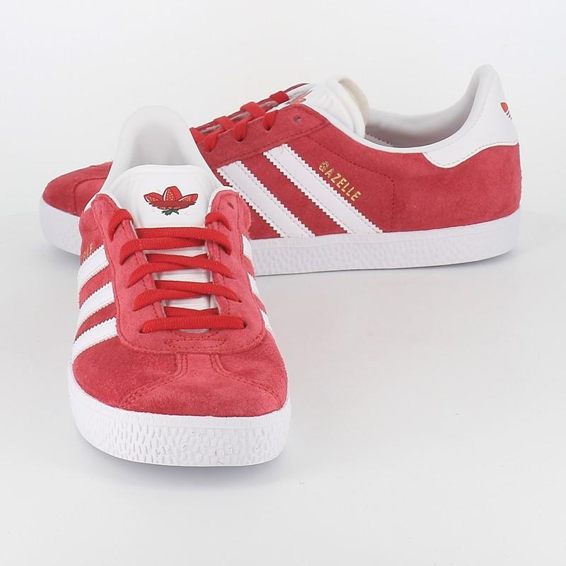 Adidas - gazelle en nubuck junior rouge blanc à lacet  Numéro 9 Shoes