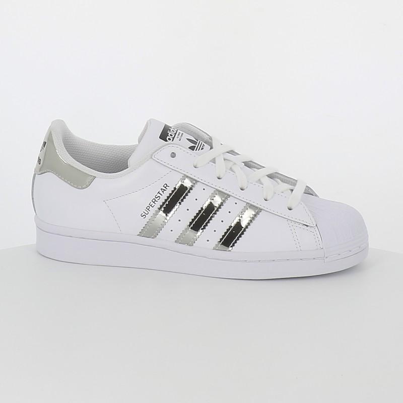Adidas - Superstar blanc argent miroir femme |Numéro 9 Shoes
