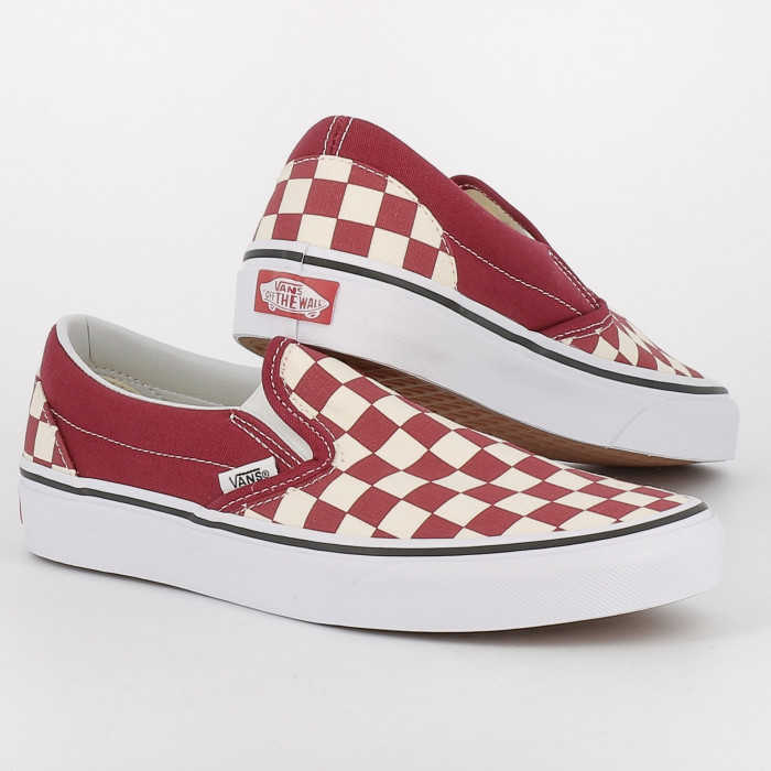 Chaussures Vans Classic Slip On Checker Rouge Blanc