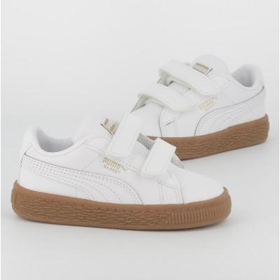 basket classic gum velcro - cuir